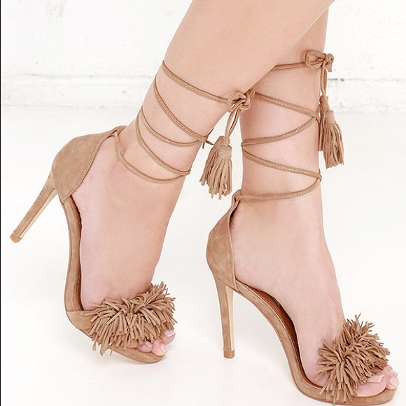 a6c0fa81f17 Steve Madden Sassey Fringe High Heel Sandals Tan